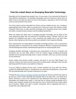 Find the Latest News on Emerging Wearable Technology