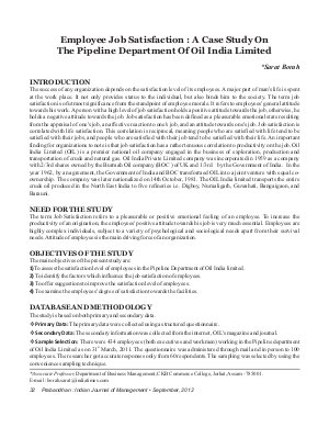 PIJM-Sep12-Article4-Employee Job Satisfaction : A Case Study On The Pipeline Department Of Oil India Limited