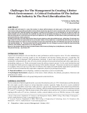 PIJM-Oct12-Article2-Challenges For The Management In Creating A Better Work Environment: A Critical Evaluation of The Indian Jute Industry In The Post Liberalization Era - Read on ipad, iphone, smart phone and tablets.