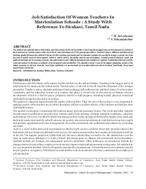 PIJM-Oct12-Article5-Job Satisfaction Of Women Teachers In Matriculation Schools: A Study With Reference To Sivakasi, Tamil Nadu
