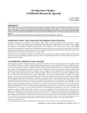 PIJM-Nov12-Article1-Production Chains: A Difficult Research Agenda - Read on ipad, iphone, smart phone and tablets.