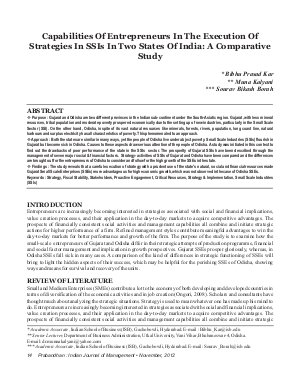 PIJM-Nov12-Article2-Capabilities Of Entrepreneurs In The Execution Of Strategies In SSIs In Two States Of India: A Comparative Study