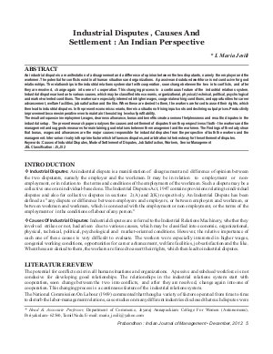 PIJM-Dec12-Article1-Industrial Disputes, Causes And Settlement: An Indian Perspective - Read on ipad, iphone, smart phone and tablets.
