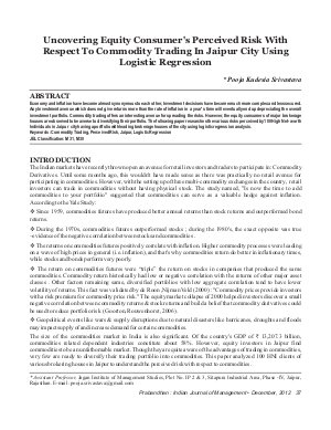 PIJM-Dec12-Article4-Uncovering Equity Consumer's Perceived Risk With Respect To Commodity Trading In Jaipur City Using Logistic Regression - Read on ipad, iphone, smart phone and tablets.