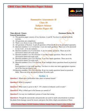 CBSE Class 10th Practice Paper Science - Read on ipad, iphone, smart phone and tablets.