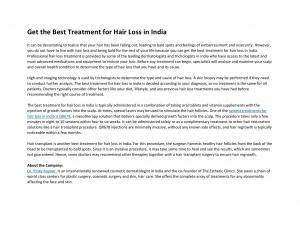 Get the Best Treatment for Hair Loss in India - Read on ipad, iphone, smart phone and tablets.