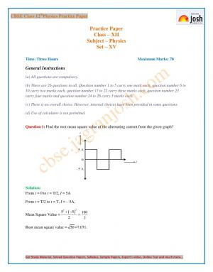 CBSE Class 12 Physics Solved Practice Paper: Set - XV - Read on ipad, iphone, smart phone and tablets.