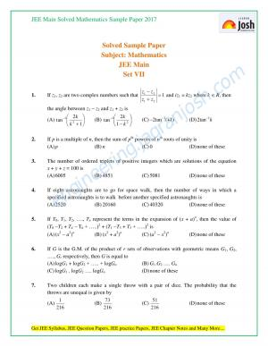 JEE Solved maths sample paper 2017 - Read on ipad, iphone, smart phone and tablets.