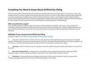 Everything You Need to Know About Artificial Eye Fitting - Read on ipad, iphone, smart phone and tablets.
