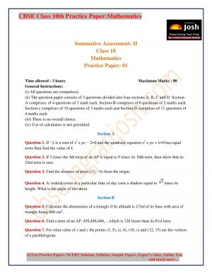 class 10 maths Practice Paper - Read on ipad, iphone, smart phone and tablets.