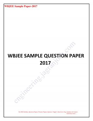 WBJEE SAMPLE QUESTION PAPER 2