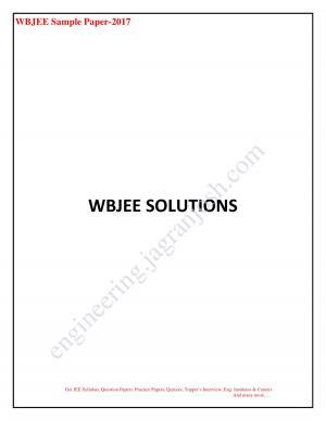 WBJEE Sample Paper 2017 SOLUTIONS 2
