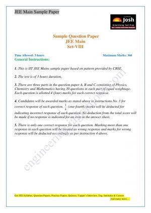 JEE Main Solved Sample Paper Set-VIII