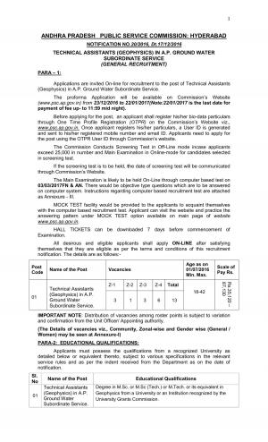 APPSC Technical Assistant (Geophysics) Jobs Detailed Advertisement