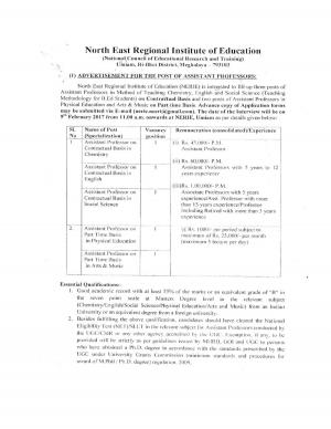 NERIE Recruitment for 05 Assistant Professor Posts, Details at nerie.nic.in
