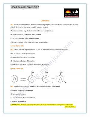UPSEE Chemistry Sample Paper