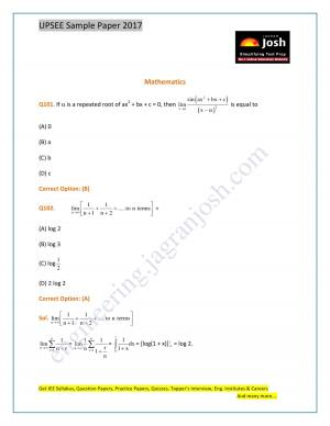 UPSEE Mathematics Sample Paper