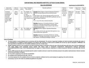 ICAR-NRRI Recruitment 2016 for 03 Senior Research Fellow and Field Assistant Posts