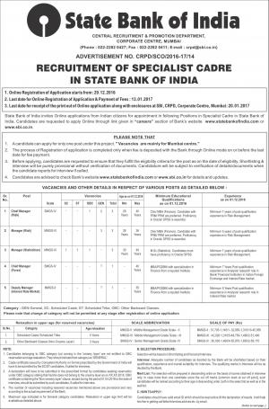 SBI Recruitment 2017, 11 Vacancies, Apply for Specialist Cadre Posts at sbi.co.in