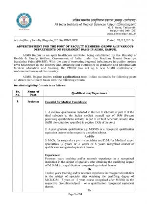 AIIMS, Raipur Hiring 204 Faculty Posts; Apply by 28 Jan