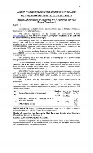 APPSC Assistant Director of Fisheries Jobs Detailed Advertisement