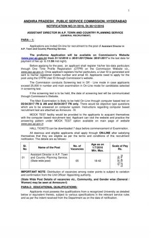 APPSC Assistant Director in A.P. Town Planning Jobs Detailed Advertisement