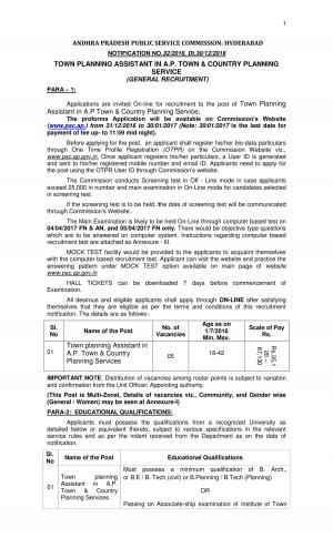 APPSC Town Planning Assistant Jobs Detailed Advertisement