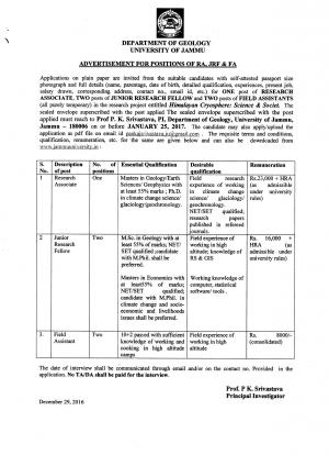 University of Jammu Recruitment 2017 for Research Associate and Other Posts
