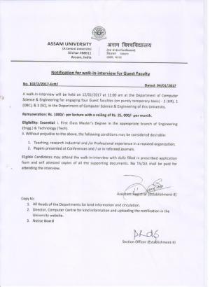 Assam University Recruitment 2017 for 04 Guest Faculty Posts