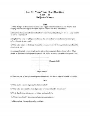 cbse class 10 science last 5+1 years very short questions
