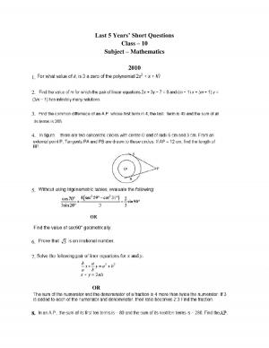 class 10 maths last 5 years short questions
