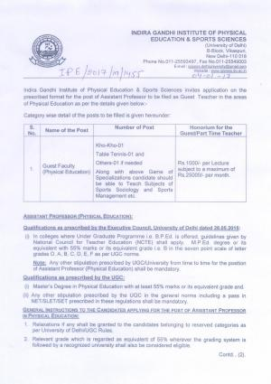 IGPESS, New Delhi Recruitment 2017 for 03 Guest Faculty (Physical Education) Posts