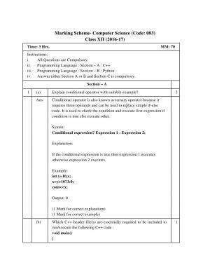 CBSE Class 12 Computer Science Paper Set 1 Sample Question Paper 2017 Marking Scheme