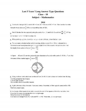 class 10 maths last 5 yrs long answer type questions