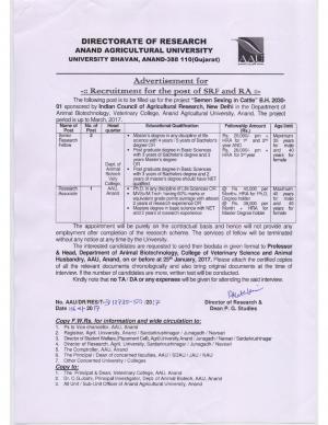 AAU, Gujarat Recruitment 2017 for 03 SRF and RA Posts
