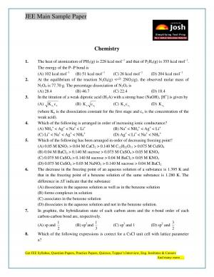JEE Main Sample Paper Set 9 Chemistry Questions