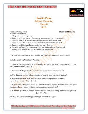 class 11 chemistry practice paper 2017 set-1