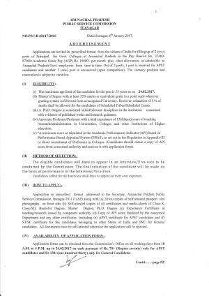 Arunachal Pradesh PSC Recruitment for 02 Principal Posts, Apply at appsc.gov.in