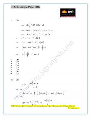 UPSEE Sample Solution Paper Set 4