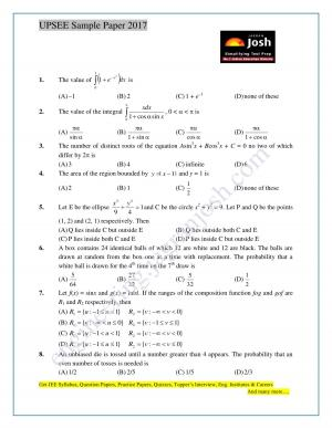WBJEE 2017 Physics Sample Question Paper