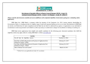 IDBI Bank Hiring Specialist Officers 2016-17