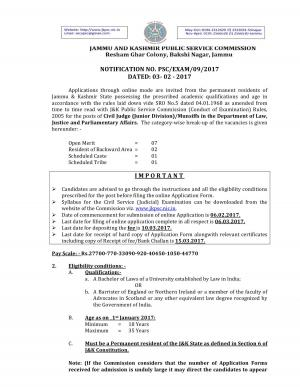 JKPSC Recruitment 2017 for 11 Civil Judge Posts