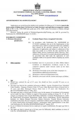 Sikkim PSC Recruitment 2017 for 12 Posts in Junior Grade 2017