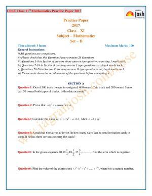 CBSE Class 11 Maths Practice Paper 2017