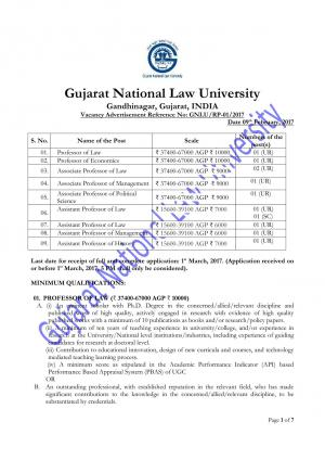 Gujarat National Law University Recruitment 2017 for 11 Faculty Posts