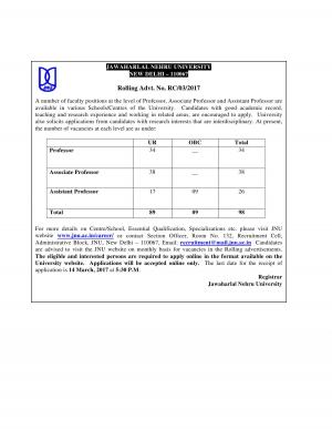 JNU Recruitment 2017 for 98 Faculty Posts