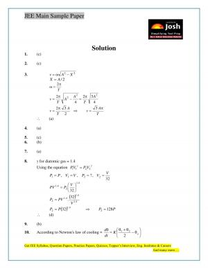 JEE Main Sample Paper Set 10 Physics Solutions