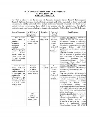 ICAR-NDRI Recruitment 2017 for 11 JRF, SRF, RA & Other Posts