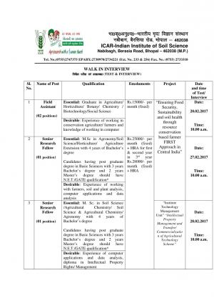 ICAR-IISS, Bhopal Recruitment 2017 for 04 Field Assistant & SRF Posts