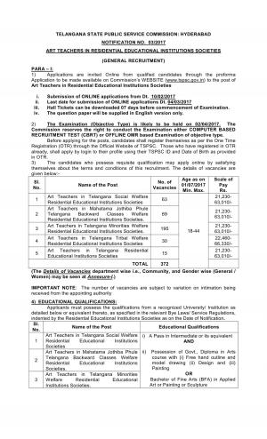 Telangana State PSC Recruitment 2017 for 372 Art Teachers Posts